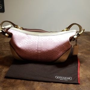 Authentic coach handbag Signature pink with cream
